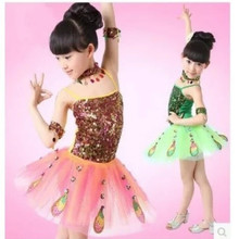 Girl jazz dance latin children show costume Dai clothes  stage girl Peacock sequin skirt pants