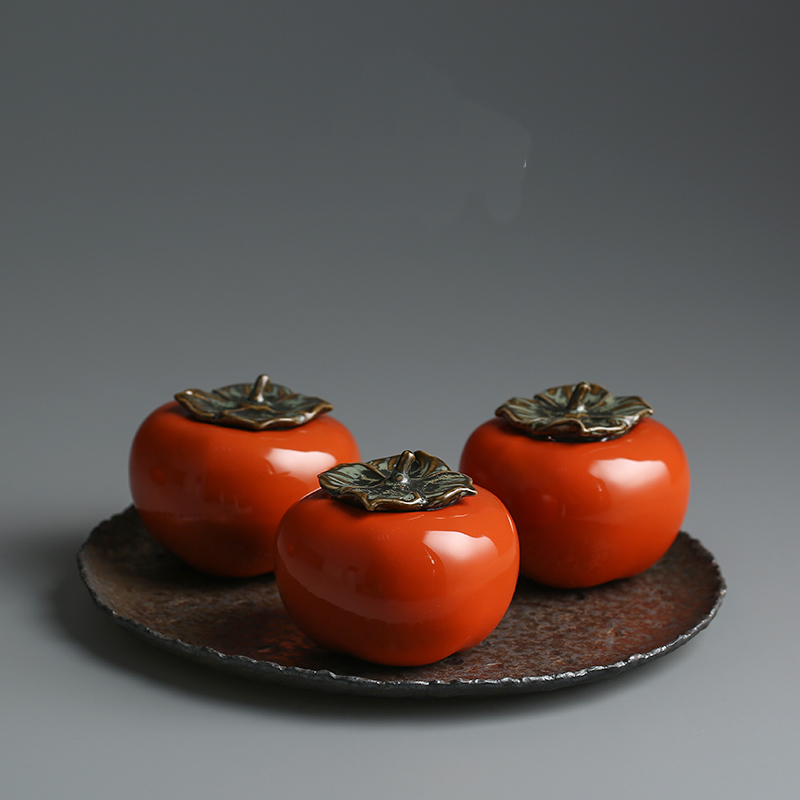 Creative persimmon ceramic small storage jar Fun red fruit candy storage bottle Tea pot