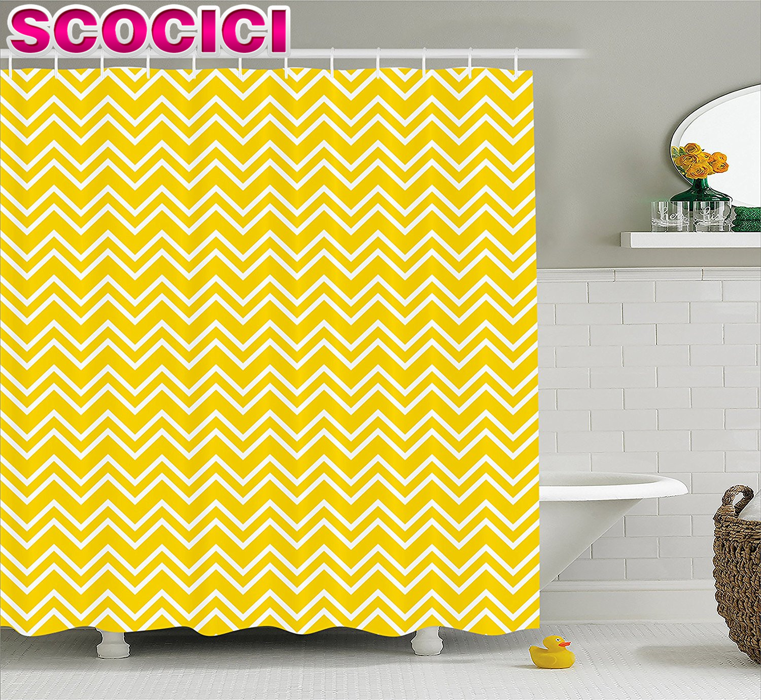 Chevron bathroom sets with shower curtain and rugs - Yellow Decor Shower Curtain Zig Zag Chevron Pattern In Yellow And White Modern Inspired Art Print Fabric Bathroom Decor Set Yell