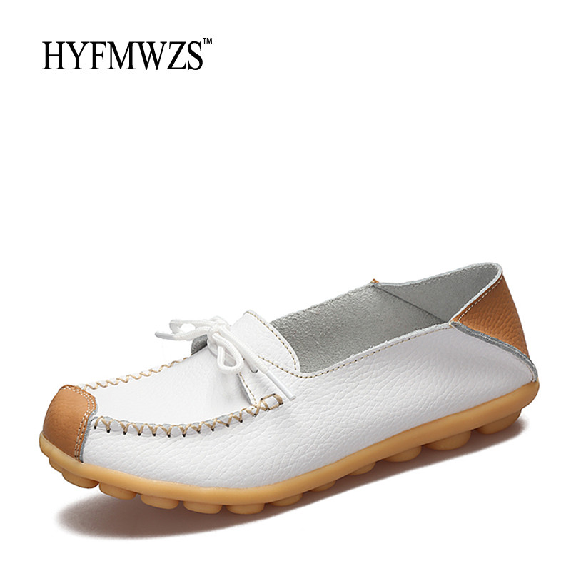 HYFMWZS Fashion Designers Lace Up Women Loafers Breathable Leather Shoes Woman Non-Slip Cow Muscle Outsole Ballet Flats Shoes hyfmwzs soft and breathable flat shoes women slip on non slip leather shoes woman comfortable lace up ballet flats zapatos mujer