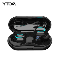 Bluetooth 5.0 Mini Tws sportowy zestaw słuchawkowy bezprzewodowy zestaw słuchawkowy słuchawki ze światłem mikrofon automatycznie parowania słuchawki douszne do apple samsung