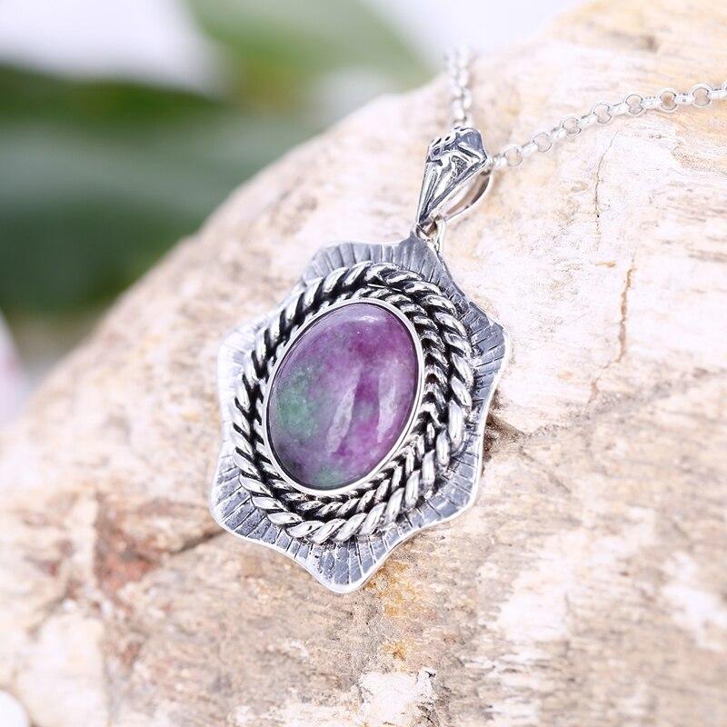 Pendentif 925 en argent Sterling!! Accessoires de bijoux chanceux en pierre naturelle de forme ovale