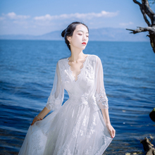 white lace long dress 2017 New autumn casual beachwear embroidery flower fall maxi dress mesh V collar flare sleeves dress woman