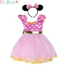 6dd3b647d Rosa de dibujos animados Minnie niña Dot vestido y Diadema de oro amarillo  arco Infantil Niño de cumpleaños de las niñas de vaca.