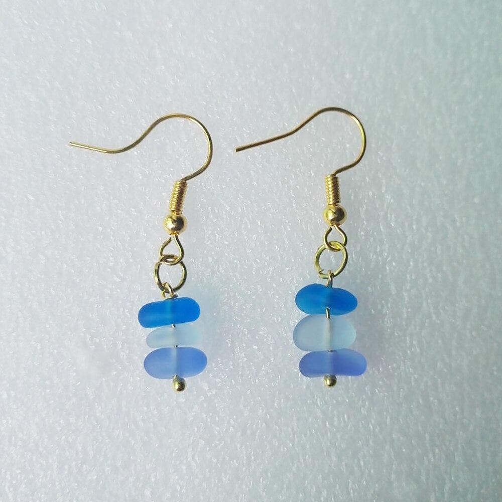 Beach Glass Earrings Turquoise Sea Glass Jewelry Sea Glass Earrings Dangle Earrings Turquoise Sea Glass Earrings Christmas Gift For Her