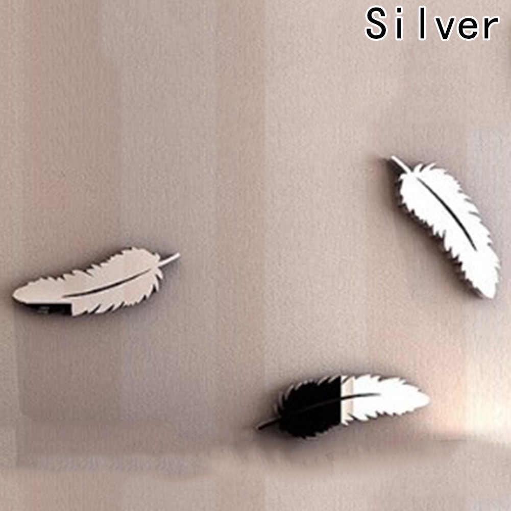 Etiqueta de la pared de 3D espejos de plumas pared pegatinas de papel tapiz DIY Mural Calcomanía para el hogar Decoración de la habitación