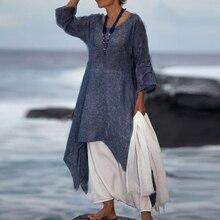 Vintage Women Boho Long Sleeve Irregular Maxi Casual Kaftan Dress Plus Size