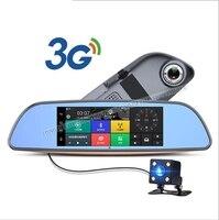 3G Samochód DVR + Android 5.0 Bluetooth GPS WIFI aparat z dwoma obiektywami lusterko wsteczne + FHD1080P camara automovil DVR