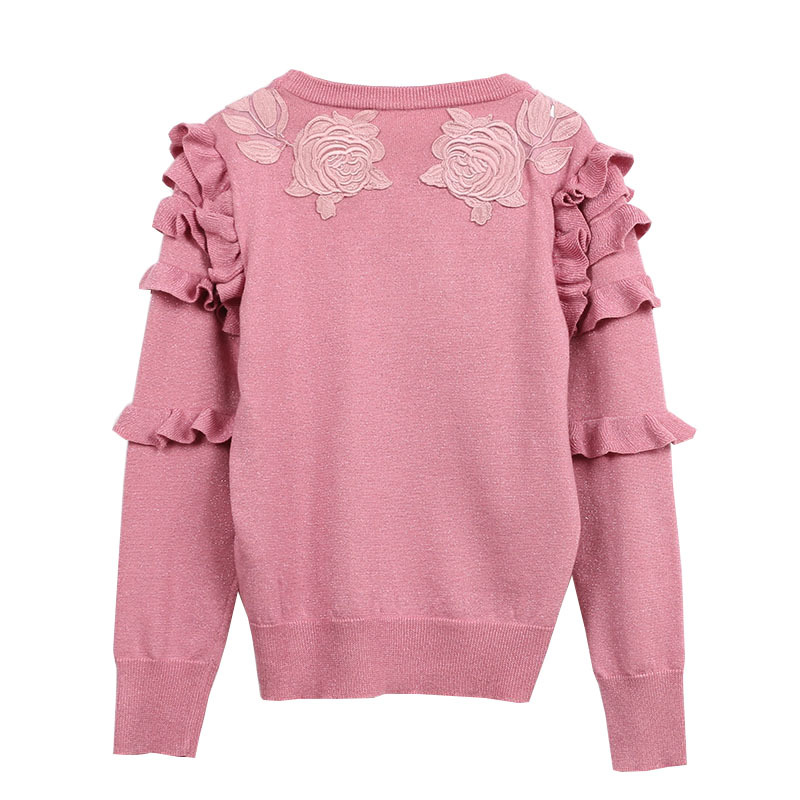 Makuluya Spring Autumn Women new heavy work flowers Red heart leopard embroidered long sleeved sweater Pullovers O-Neck Girl QW
