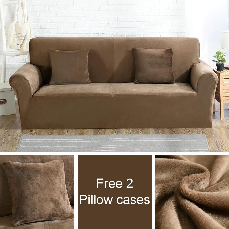 Free 2 pillow cases plush fabric sofa cover stretch seat