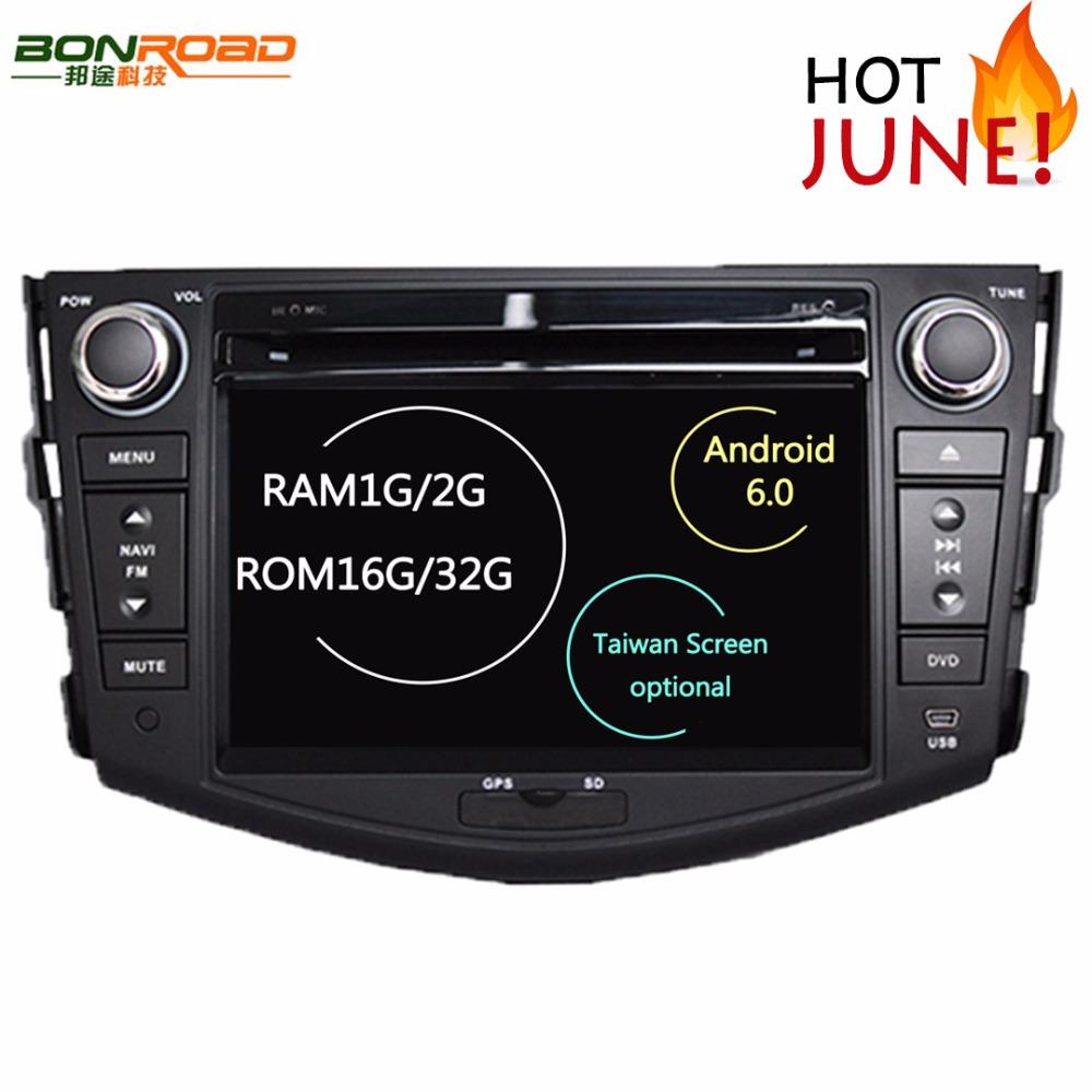 Prix pour Quad Core 1024*600 HD Écran 2Din Android 6.0 DVD De Voiture pour Toyota RAV4 Audio Vidéo Stéréo GPS de Navigation Radio RDS 3G 4G Wifi