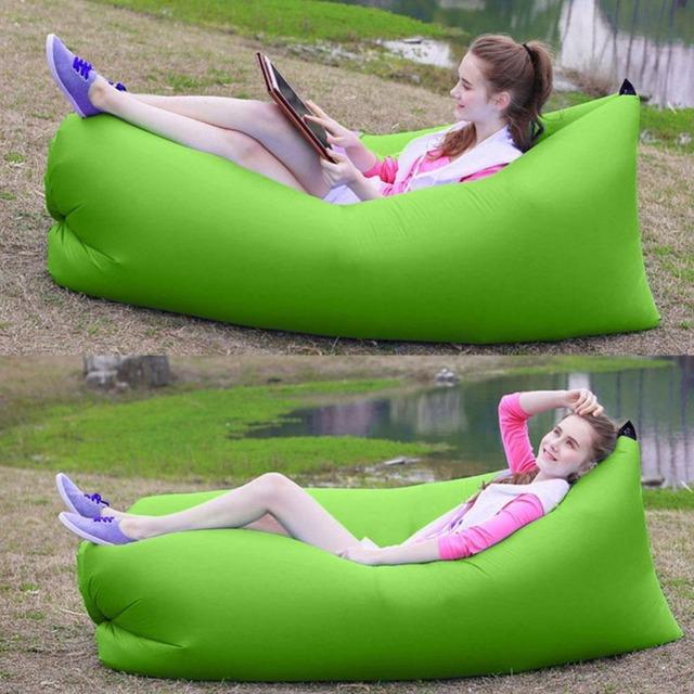 Nova Inflável Camping Laybag Sofá Cama Portátil Hangout Float Cadeira do Saco de Feijão Sofá Cama de Praia Ao Ar Livre Saco de Dormir Caminhadas Viagem