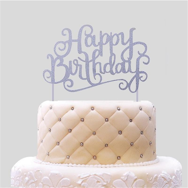 Aliexpress Buy 20pcs Lot Silver Happy Birthday Cake Topper