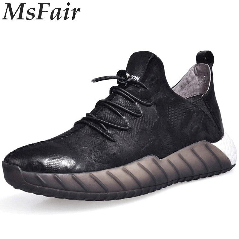 MSFAIR 2018 New Men Running Shoes Outdoor Athletic Sport Shoes For Men Super Light Men Sneakers Man Brand Genuine Leather men s running shoes for men athletic shoes men sneakers outdoor sport shoes man black shoe zapatillas deportivas hombre 39 46