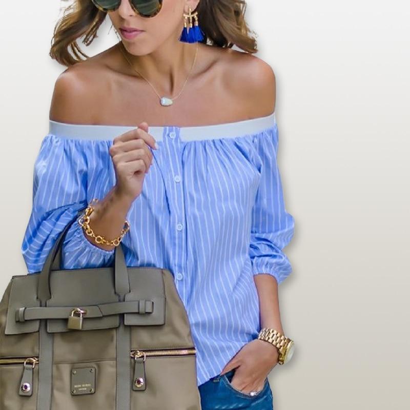 font b Fashion b font Women Blouse Striped Shirt Strapless Slash Neck Long Sleeve Off