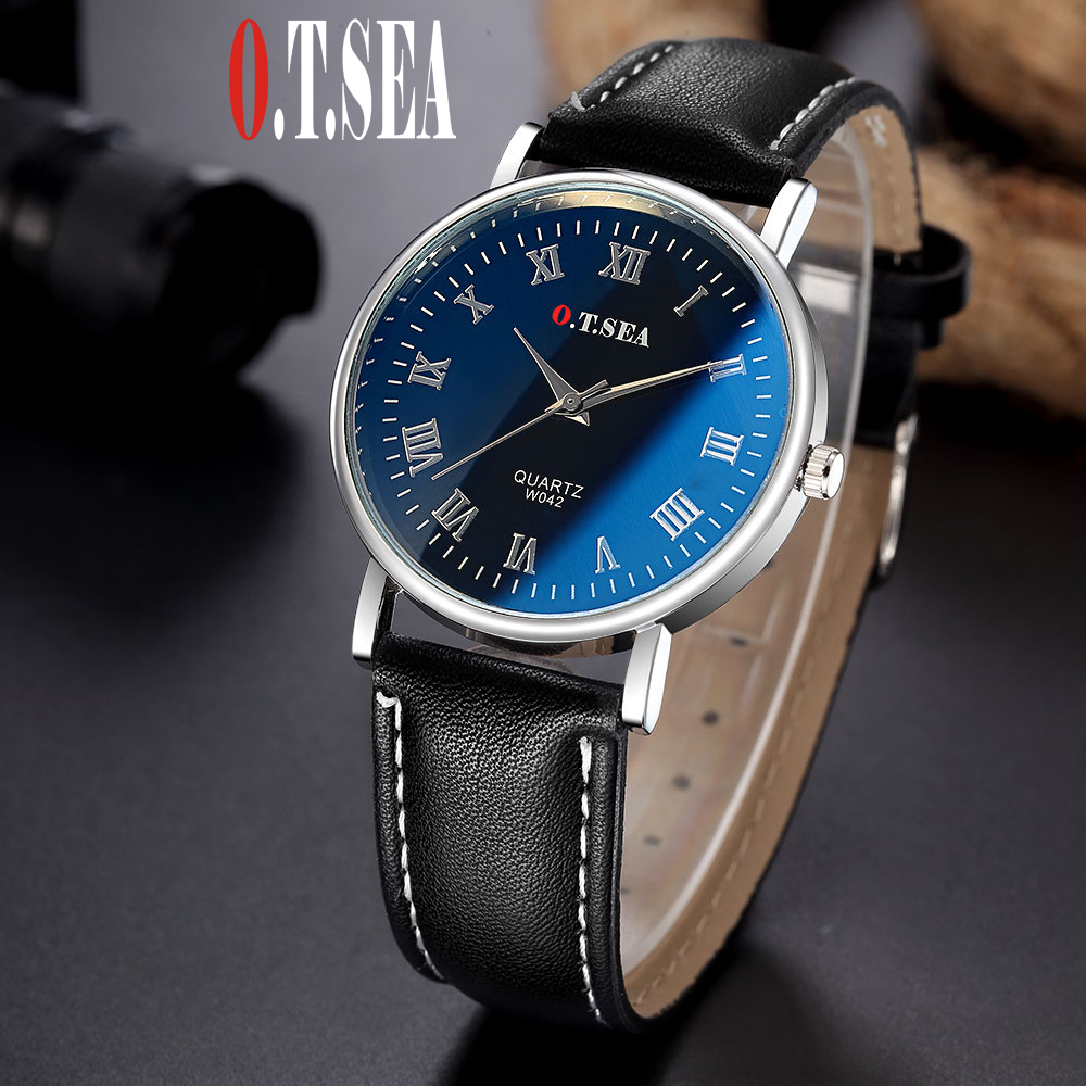 2016 Luxury O.T.SEA Brand Fashion Faux Leather Men Blue Ray Glass Quartz Analog Watches Casual Male Watch W042 luxury brand men watches 2016fashion faux leather men blue ray glass quartzwatches casual males business watch relogio masculino