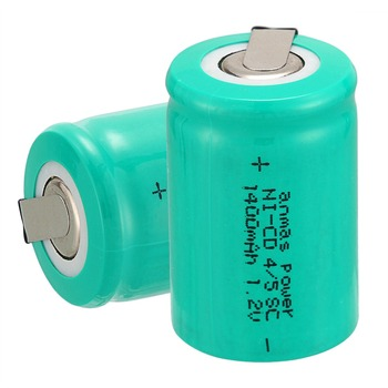 Anmas power! high quality 2 pcs a set Ni-Cd 36g 4/5 SubC Sub C 1.2V 1400mAh Rechargeable Battery with Tab - Green image