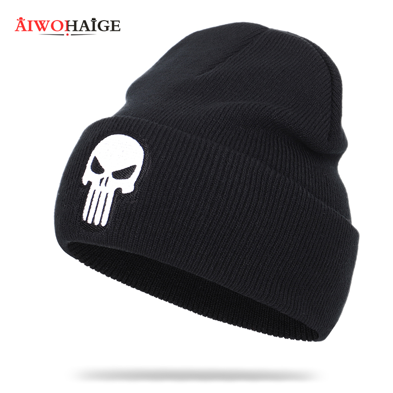 2019 New High Quality Skull Embroidery Knit Beanie The Punisher Winter Casual Hat Women Men Warm Soft Cap Cotton Hedging Cap