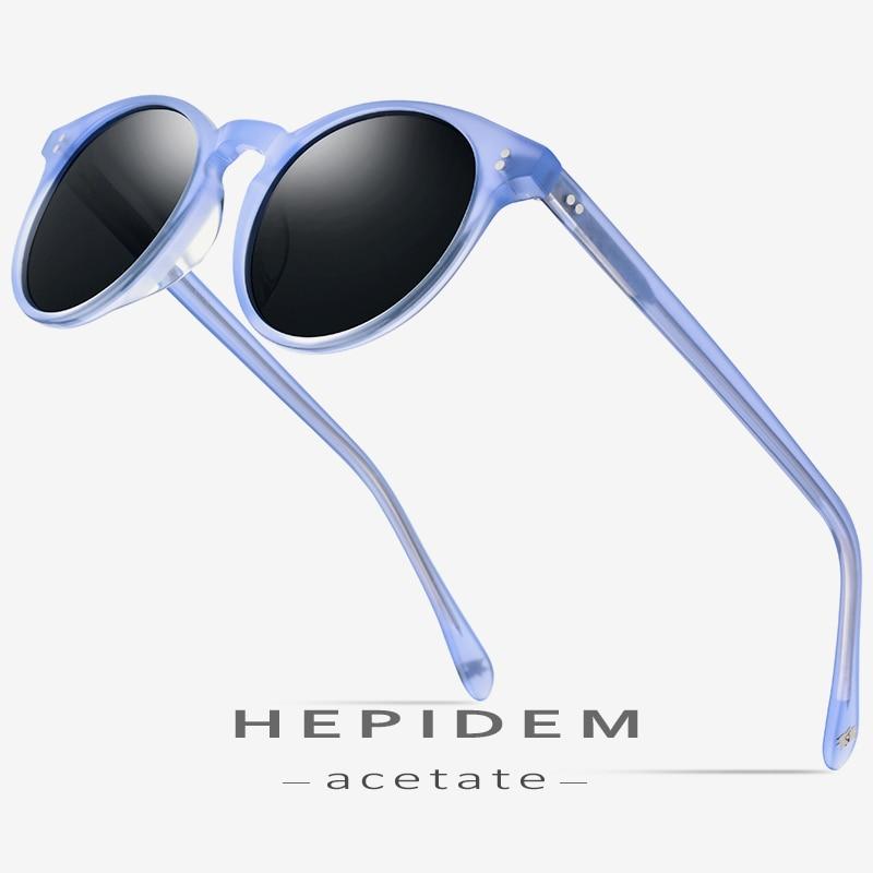 HEPIDEM Acetate Polarized Sunglasses Women 2019 New Vintage Retro Round Sun Glasses for Women Brand Design Transparent Sunglass