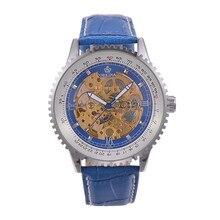 Luxury Brand Orkina Часы Из Нержавеющей Стали Скелет Циферблат Мужчины Автоматическая Механическая Кожаный Ремешок Мужчины Бизнес Часы RoyalBlue