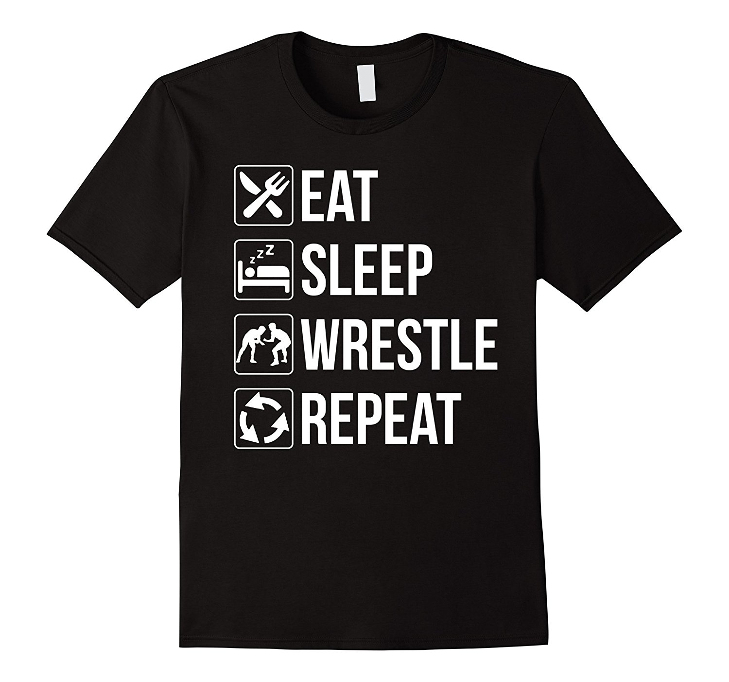 Gildan Funny Eat Sleep Wrestle Repeat Wrestling TShirt