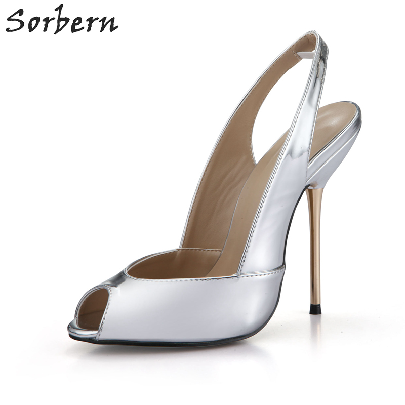 Sorbern Sexy Gold Metal High Heels Slingbacks Women Pumps Peep Toe Slip On Ol Shoes Ladies 13Cm/11Cm Stilettos Pump Ladies 2018 sorbern real photo colored glitter sequins women pumps slip on rivets ladies shoes women high heels stilettos pumps eu34 46