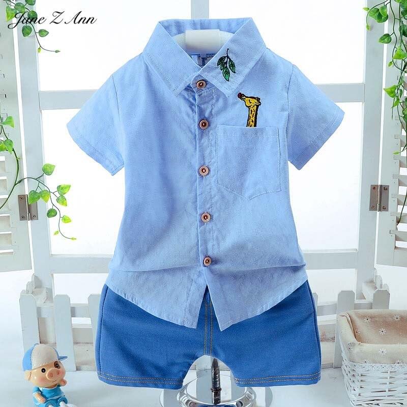 Джейн Z Ann лето детская одежда Одежда для маленьких мальчиков мультфильм кролик Жираф с короткими рукавами для мальчиков рубашка + Шорты комплект одежды для детей