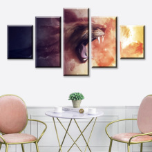 HD Print 5 Piece Animal Canvas Art Poster Lion Cartoon Paintings On Modern Wall For Home Decorations Decor Framework