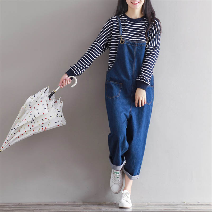 2017 Spring New Fashion Women Casual Jeans Overalls Ankle Length Wide Leg jumpsuit S XL