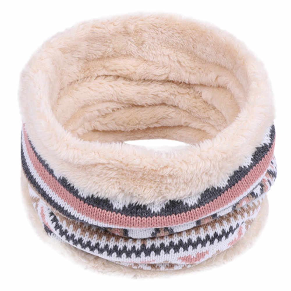 Kind Winter Warm Gebreide Ring Sjaals Print Dikke Binnenkant Super Elastische Knit Uitlaten Jongen Meisjes Kinderen Nek Warmers