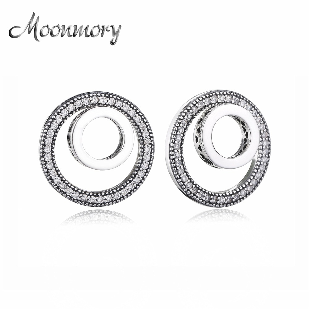Moonmory 100% Original 925 Sterling Silver 2018 Autumn Forever Signature Spinny Heart Earring Women Wedding Jewelry