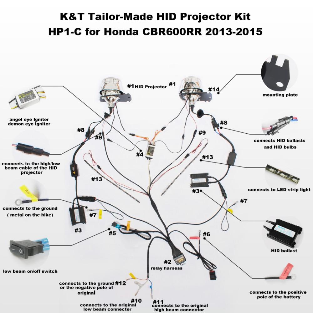 medium resolution of kt headlight fits for honda cbr600rr 2013 2015 led angel eyes green demon eyes motorcycle hid wire diagram