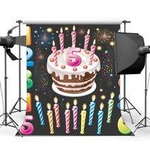 Buon Compleanno Sfondo Dolce Torta Del Bambino Smash Alfabeto Numeri Candele Bokeh Paillettes Carta Da Parati Fotografia di Sfondo