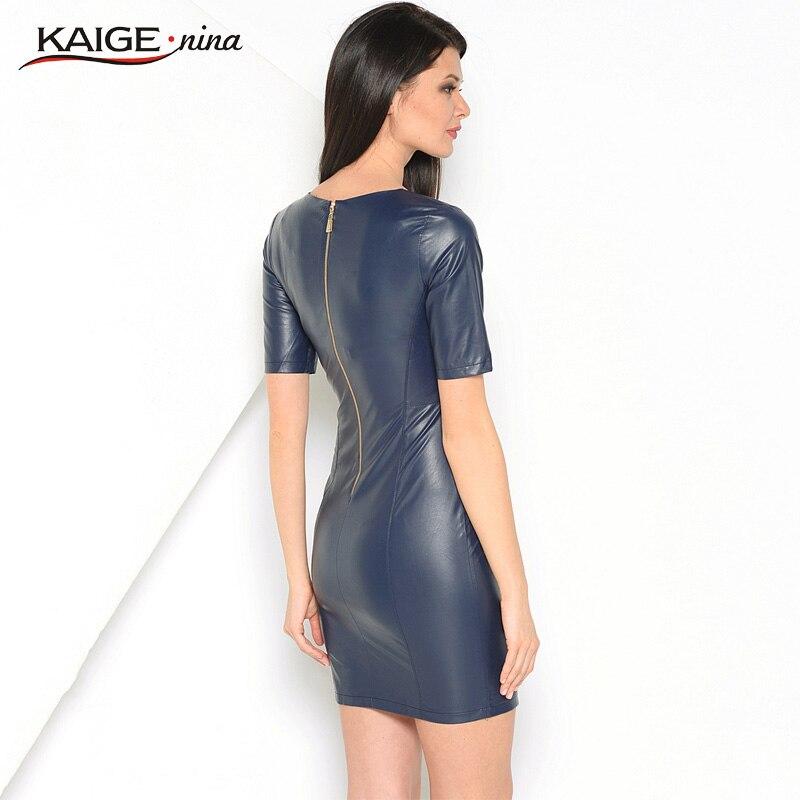 Kaige.Nina Nye Kvinders Vestidos PU Kjole Mode Pure Farve Stil Korte - Dametøj - Foto 6