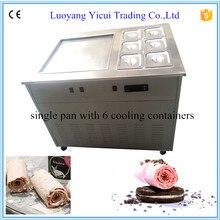 Нержавеющая сталь один лоток жареное мороженое барабан машины с 6 холодной контейнеров
