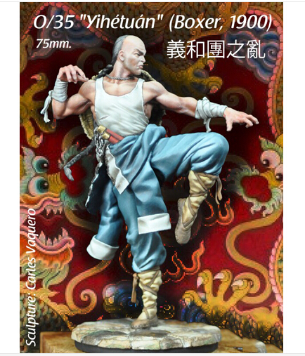 Assembly Scale 1 24 75mm Chinese Style 1900A D Chinese Kongfu Boxer Rebellion People 75mm resin
