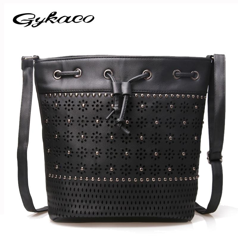 Gykaeo 2017 vrouwen emmer tas vintage klinknagel uitgehold crossbody - Handtassen - Foto 2