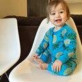Meninos Das Meninas Do Bebê Terno Do Bebê recém-nascido Primavera Hot Vender Outono Impressão zíper de Algodão Roupas Infantis Romper Do Bebê de Uma Peça Para 0-3 Anos