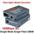 Htb-3100ab transceptor de fibra única fibra conversor de mídia de fibra óptica conversor 25 km SC 10 / 100 M monomodo de fibra única