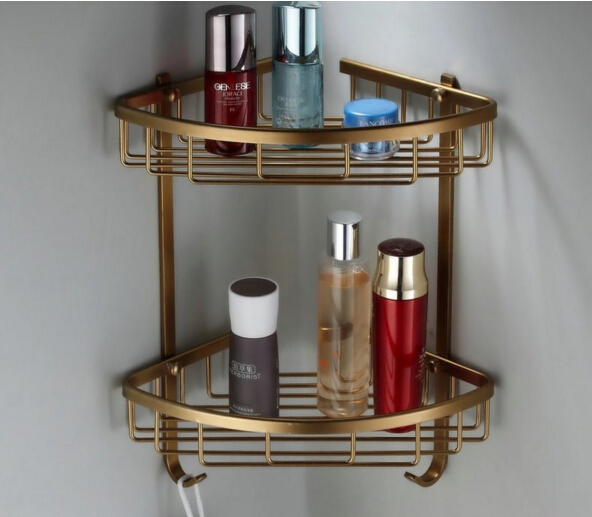 wholesale and retail Wall Mounted Antique Brass Bathroom Corner Shelf Bathroom Shampoo Shelf Bath Shower Shelf Soap Holder bronze total solid brass wall mounted bathroom double lever corner shelf bathroom shampoo shelf bath shower shelf soap holder