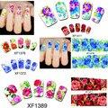 50 hojas Diseño de la Cubierta Completa de Transferencia de Agua Nails Art Sticker Flores Nail Wraps Tatuajes de Manicura Decoración Herramientas # XF1372-1421