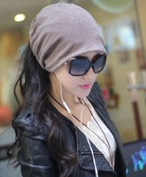 Fashion Casual Design Plain Womens Beanie Hat Cool Snap Backs 4 Colours Neck Scarf Double Use