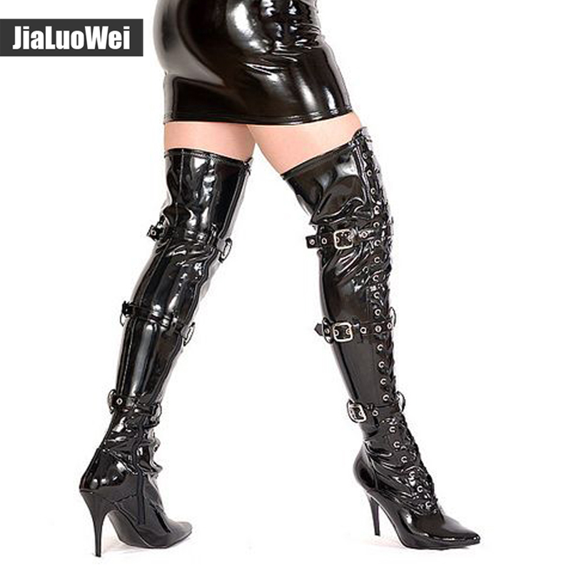 jialuowei Fashion 12cm high heel pointed toe Patent Leather Lace-Up Buckle Straps Sexy Fetish over-the-knee Unisex  Boots jialuowei Fashion 12cm high heel pointed toe Patent Leather Lace-Up Buckle Straps Sexy Fetish over-the-knee Unisex  Boots