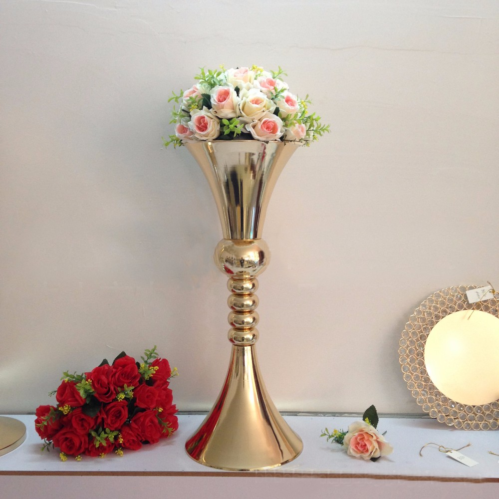 65cm tall gold flower stand wedding flower vase table for Decoration vase