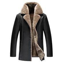 New Brand Luxury Leather Jackets Genuine sheepskin leather men's wool fur liner men leather coats