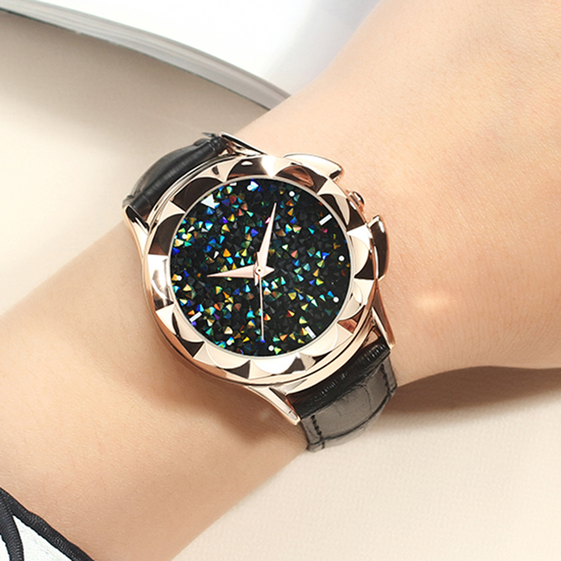 Bling Colorful SANDA Luxury Leather Quartz Watch Women Clock Female Ladies Dress Wristwatch Gift Gold 2018 Relojes Mujer Saat цена