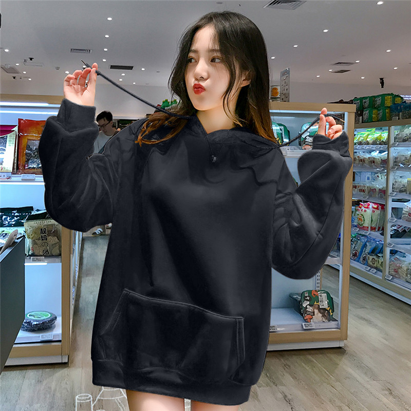Tracksuit Solid Hoodies Loose Autumn Women Sweatshirts Jumper Long Sleeve Pullover Female Thickening 2019 All Match Korea New