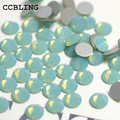 CCBLING Ss4-ss12 1440 pçs/saco Verde Opal Strass Para Unhas De Cristal Cola Na Non Hotfix Flatback Bead 3d Decorações Da Arte Do Prego