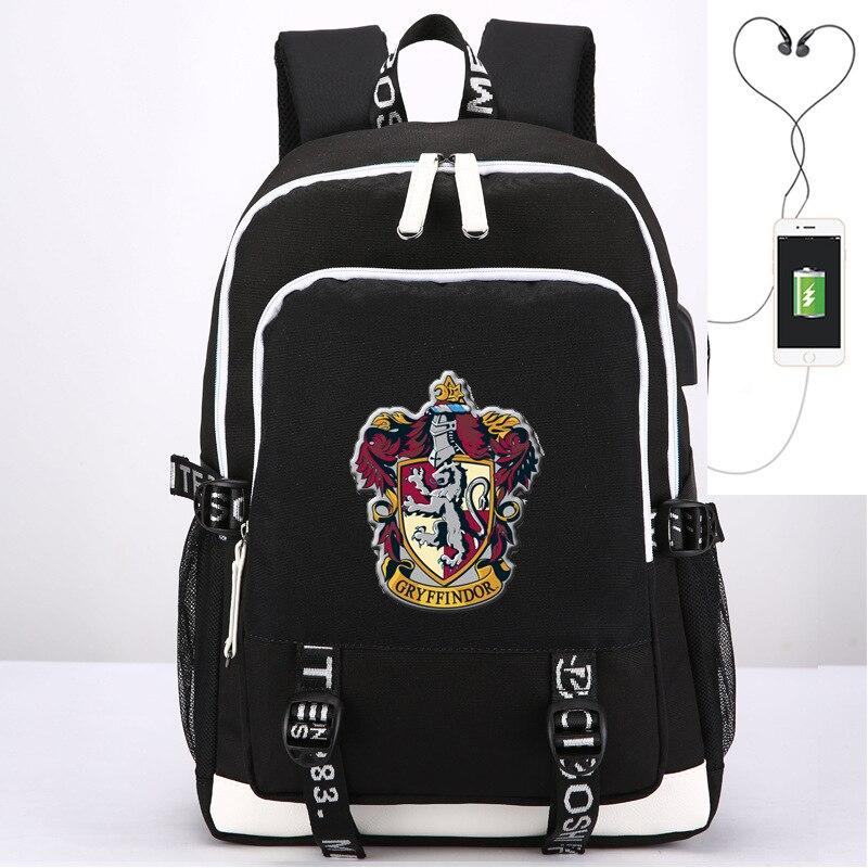 44 CM Harri Potter Hermione poudlard modèle jouets USB sac à dos cartable gryffondor badge cadeau pour enfants