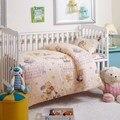 3 unids Lindo Cuna juego de Cama de Algodón Edredón Funda de almohada de Cama Hoja Plana + Funda Nórdica Cama Kindergarten ropa